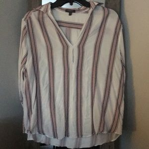 White with multi colored strips blouse!!